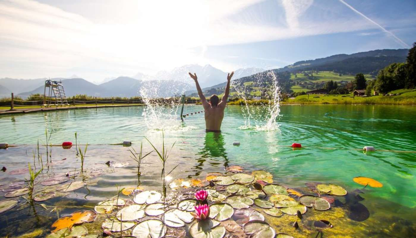 Summer swimming in the Alps