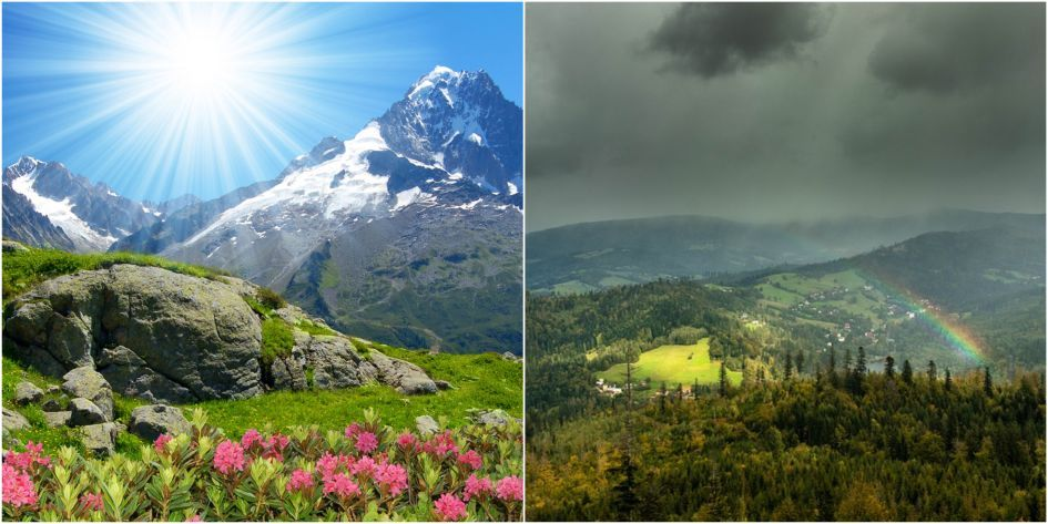 Sunshine, sunshine in the Alps, rainbow, storm, mountains, alpine weather