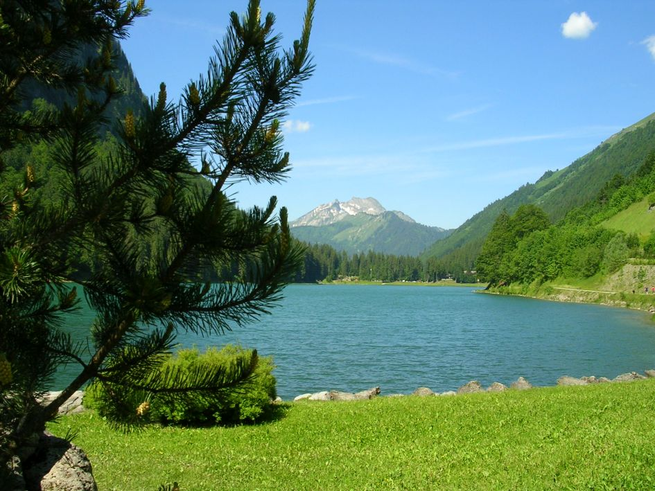 Lake Montriond, Mountains, Summer, Alps