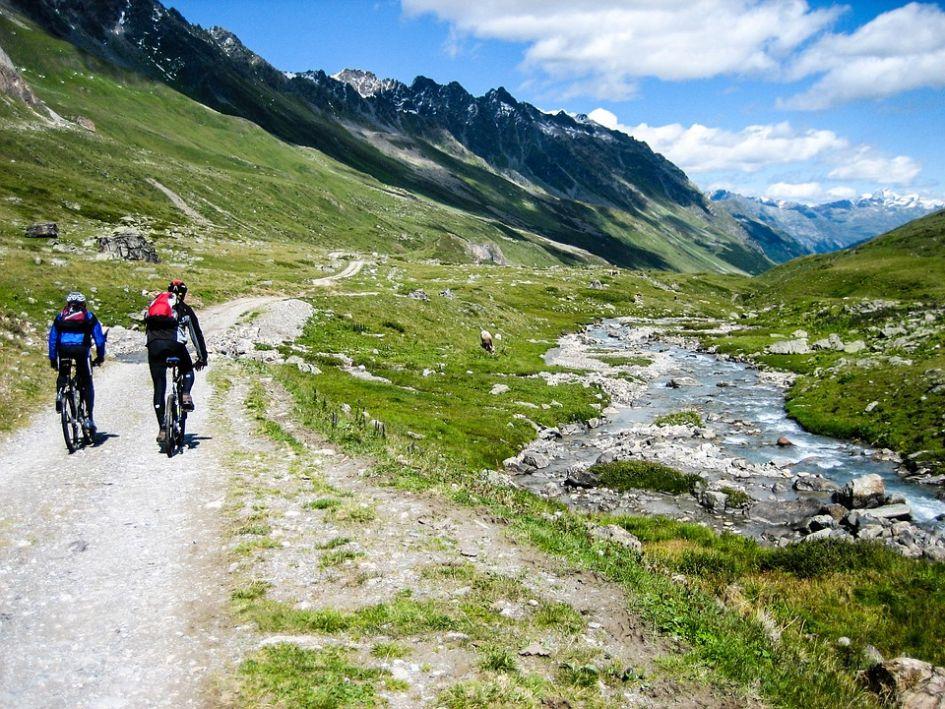 Mountain Biking, Summer, River, Alps