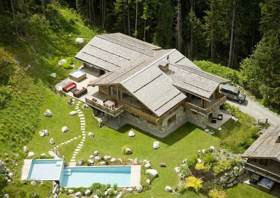 Chamonix, luxury ski chalet. summer. alps