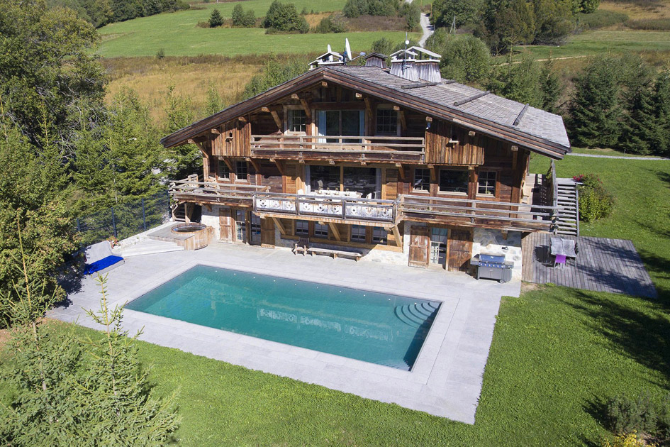 Megeve, summer, swimming pool, outdoor space, alps