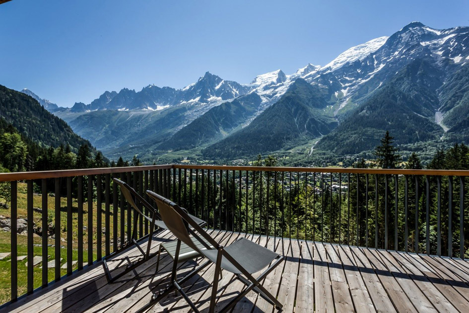 luxury summer chalet. luxury summer holiday, summer in the Alps