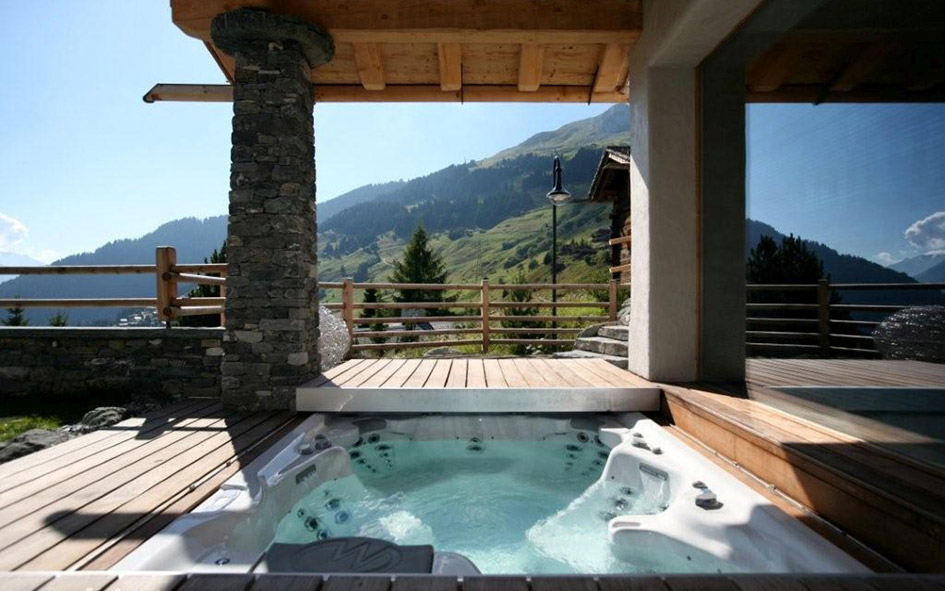 verbier, luxury summer chalet with hot tub, verbier chalet hot tub, chalets in the alps with hot tub