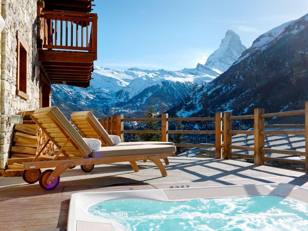 Zermatt chalet with hot tub, chalet in the alps with hot tub, chalet swiss alps hot tub, luxury summer chalet hot tub