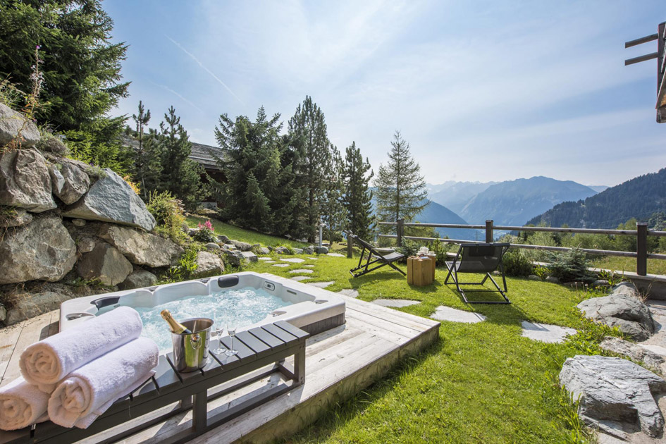 Verbier, summer chalets in Verbier, Chalets with hot tub Verbier, chalet with hot tub Swiss Alps