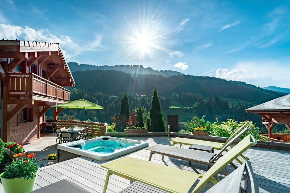 morzine, luxury chalet morzine, luxury summer Morzine chalet hot tub, chalet in the alps with hot tub