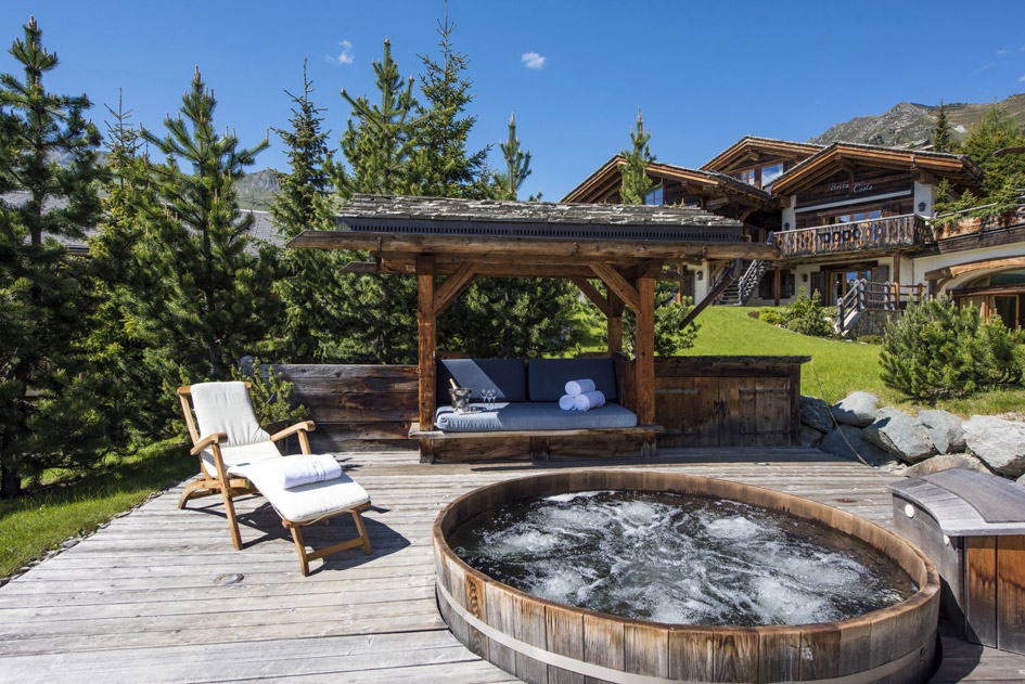 luxury chalets in the alps with a hot tub, chalets with hot tubs, summer chalet with hot tub