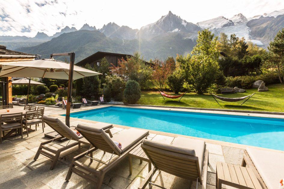 summer chalet chamonix, chalet swimming pool, mont blanc views, luxury summer chalet chamonix