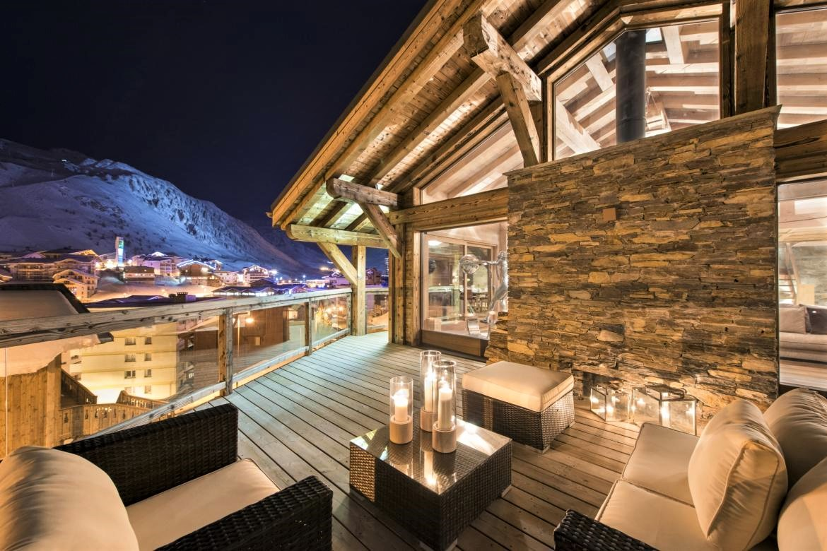 Chalet Opale, Tignes, French Alps summer holidays, terrace, mountains at night