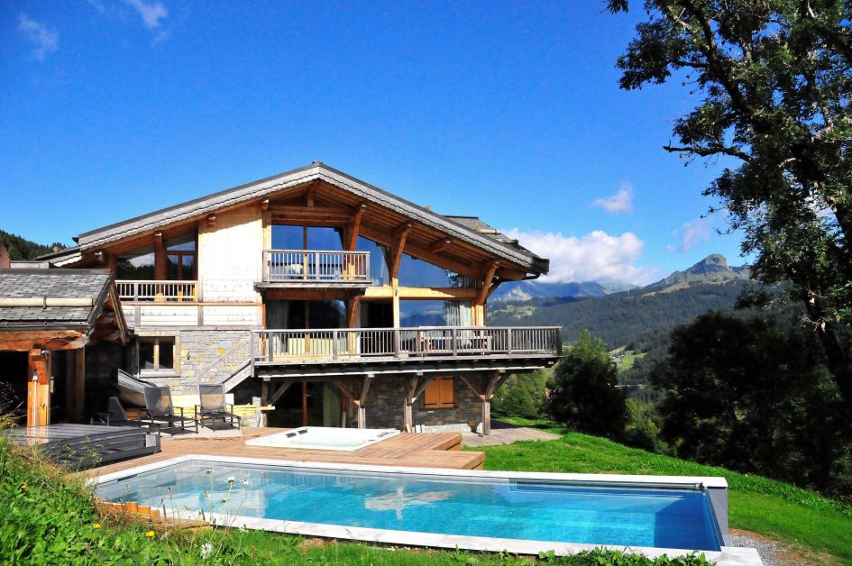 luxury summer retreat Les Gets, alpine escape Les Gets, secluded summer chalet with pool