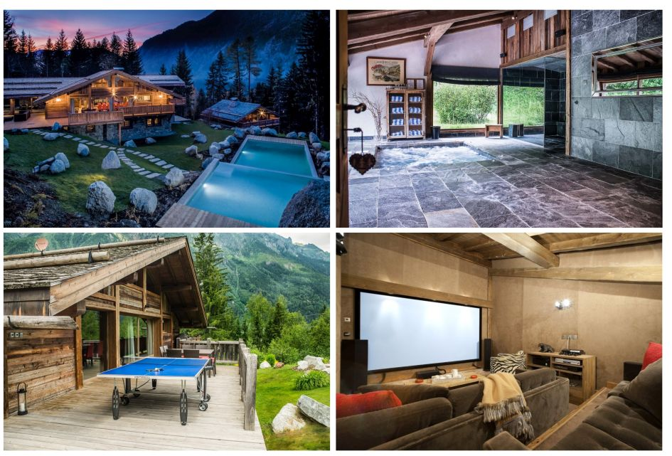 Chamonix, summer, luxury chalet, French Alps, mountains, swimming pool, cinema room