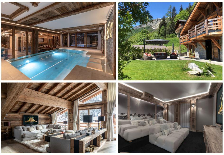 Argentiere, summer, swimming pool, garden, mountains, chalet, cinema